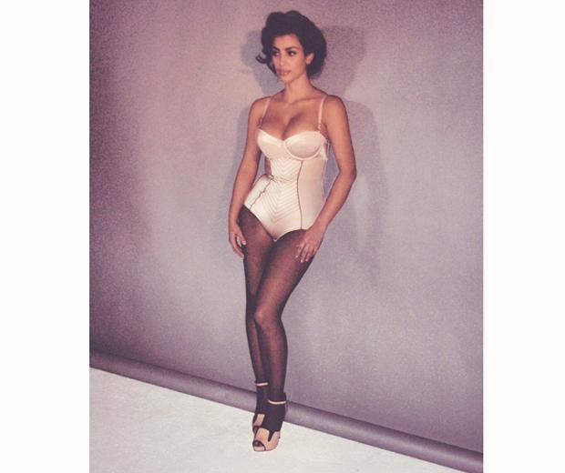 kim kardashian in a basque in sexy throwback shoot