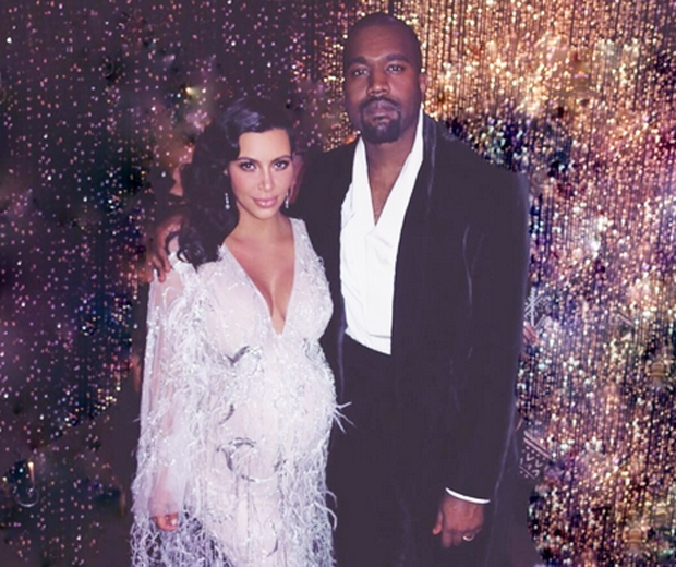 kim kardashian and kanye west at a party