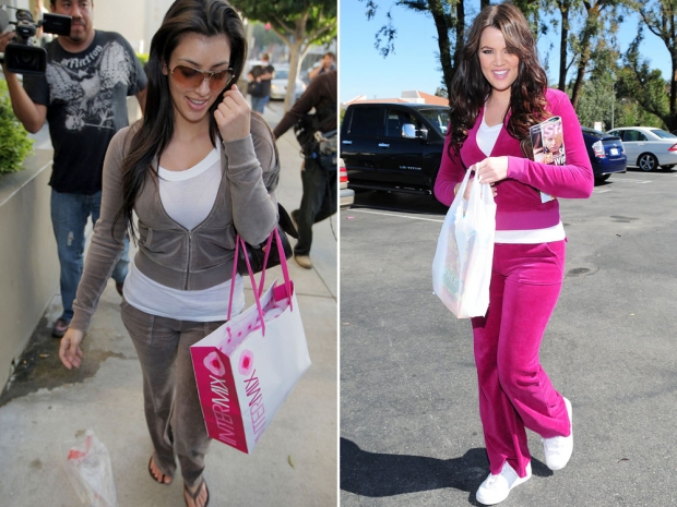 Kim and Khloe Kardashian in Juicy Couture tracksuits.