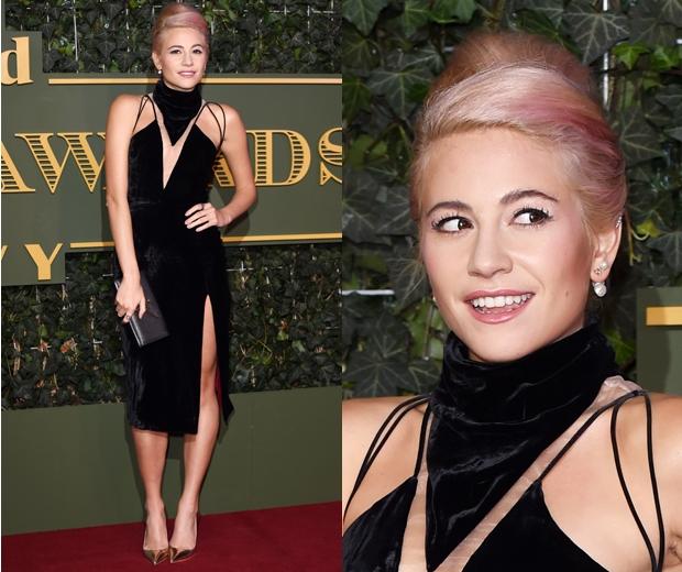 pixie lott at Evening Standard Theatre Awards in a black velvet dress