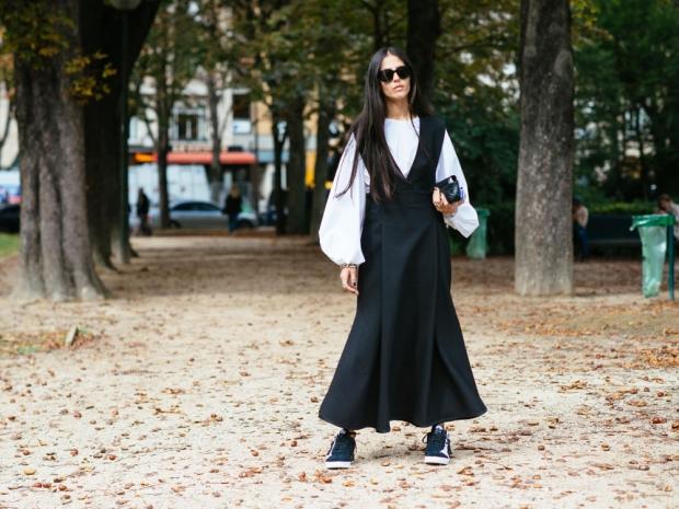 A street styler at fashion week.