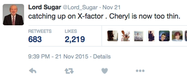 alan sugar cheryl too thin tweet