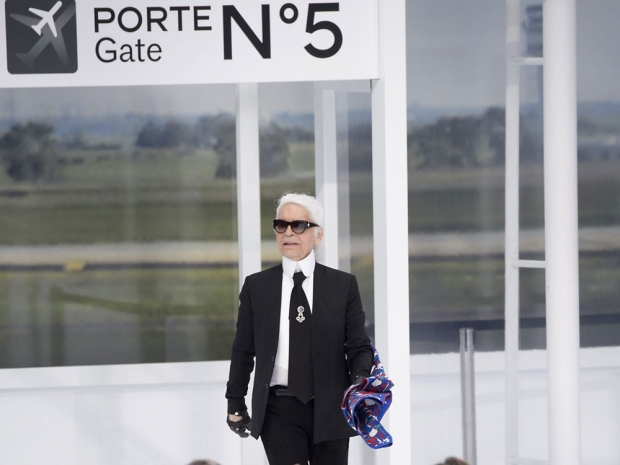 Karl Lagerfeld taking his bow.