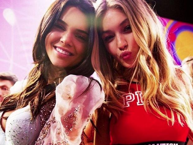 Kendall Jenner and Gigi Hadid backstage at Victoria's Secret.