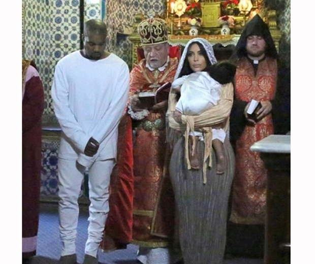 kim and kanye north west baptism