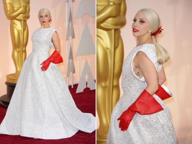 Lady Gaga at the 2015 Academy Awards.