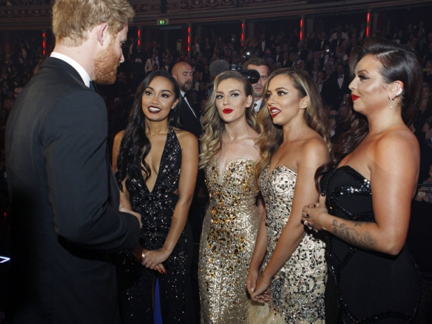 Little Mix and Prince Harry at the Royal Variety Performance