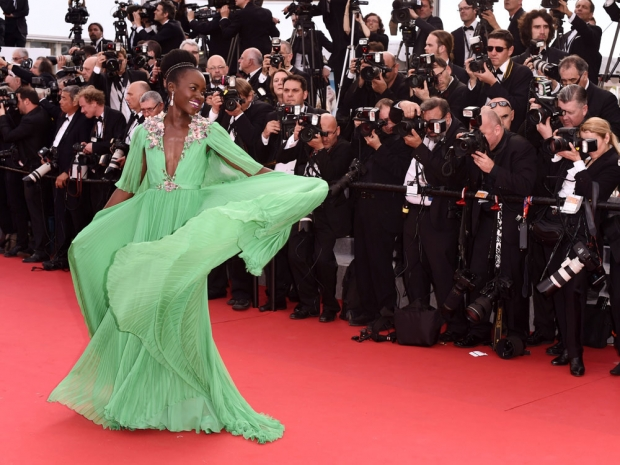 Lupita in Prada on the Cannes red carpet.