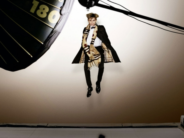 Romeo Beckham on set for Burberry's Christmas campaign.