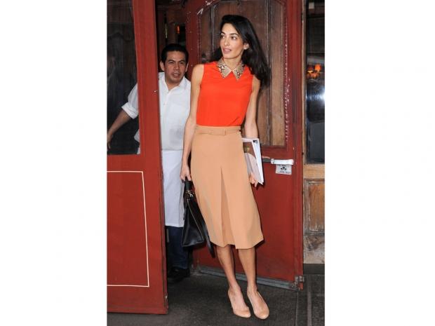 Amal Clooney in workwear.