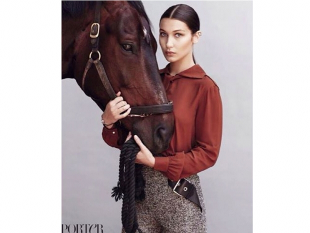 bella hadid porter shoot with horse
