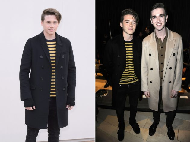 Brooklyn Beckham made a solo appearance at the Burberry show, posing alongside fellow A-list offspring Gabriel Kane Day Lewis