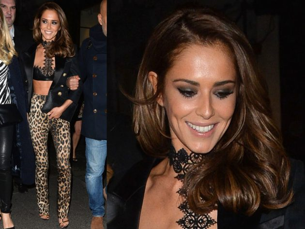 Cheryl Fernandez-Versini opted for leather and leopard print at Kimberley Walsh's hen do