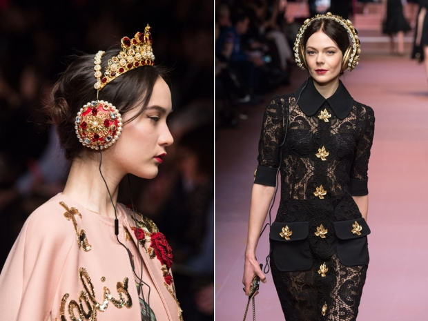 Dolce and Gabbana headphones on the catwalk