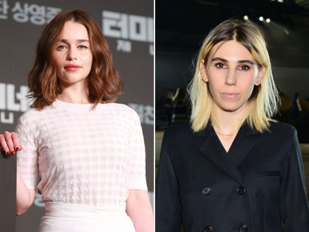 Emilia Clarke and Zosia Mamet on the red carpet.