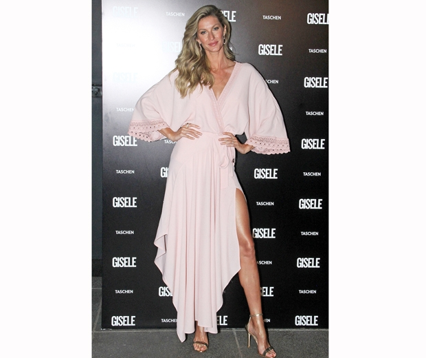 gisele in a pink dress