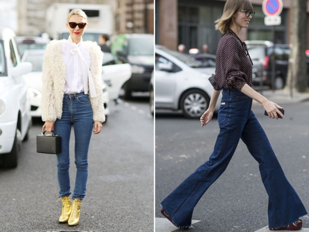 Street stylers wearing jeans during fashion week.