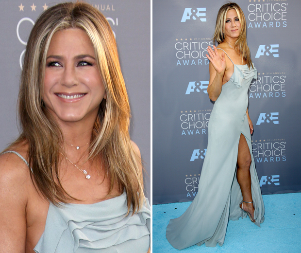 Jennifer Aniston looked amazing in her blue/grey Saint Laurent frock