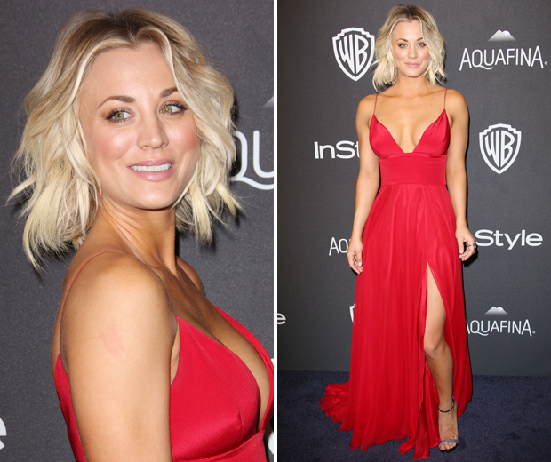 Kaley Cuoco sizzled at the Golden Globes InStyle after party in this hot red dress