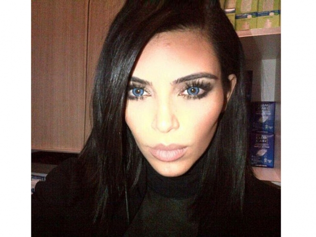Kim Kardashian wearing contact lenses
