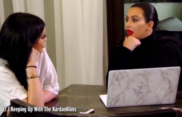 kim kardashian and kylie jenner talking