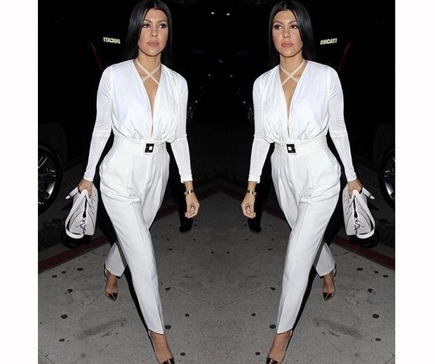 kourtney kardashian in white jumpsuit