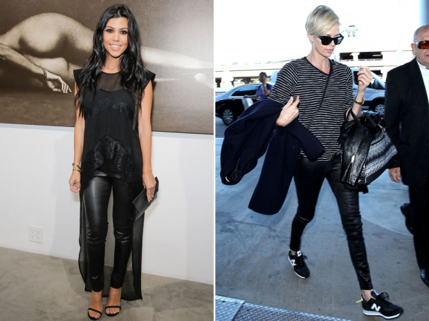 Kourtney Kardashian and Charlize Theron rocking leather trousers.