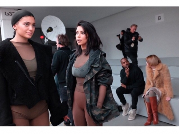 kim kardashian and kylie jenner at kanye's new york fashion week show