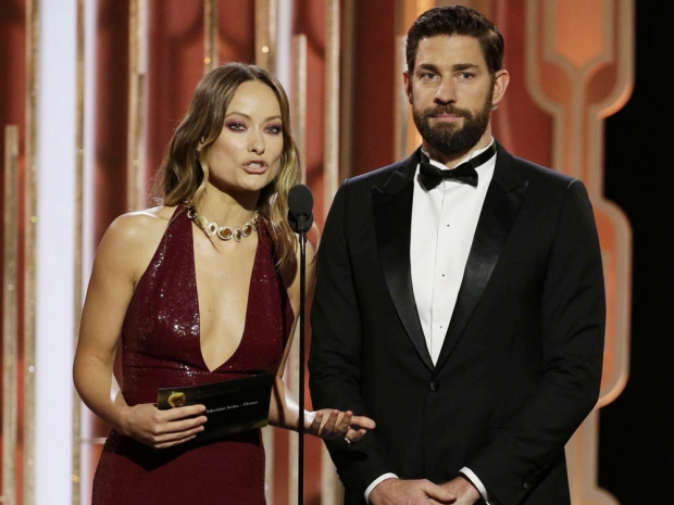 Olivia Wilde and John Krasinski at the Golden Globes