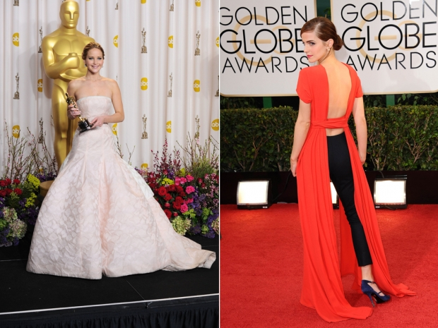Jennifer Lawrence and Emma Watson in Dior