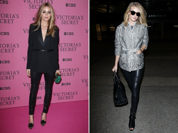 Rosie Huntington-Whiteley and Olivia Palermo in leather trousers.