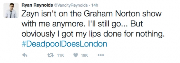 Ryan Reynolds' Tweet