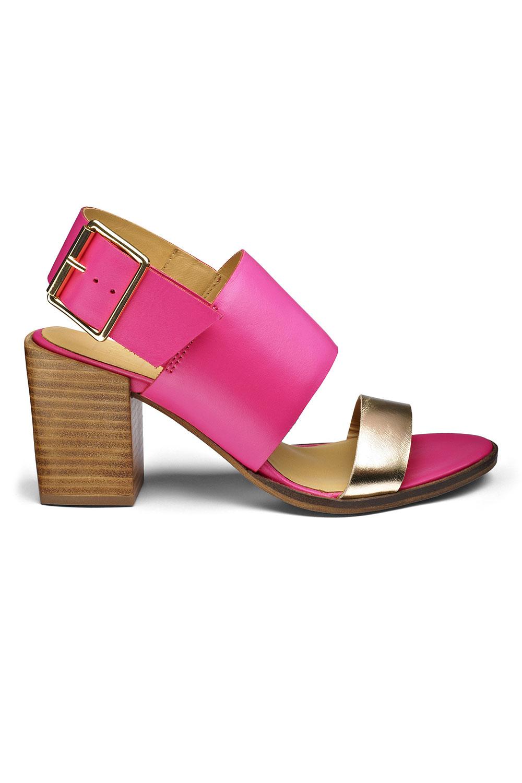 pink block heel sandals is heel