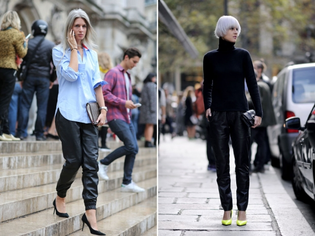Street stylers wearing leather trousers.