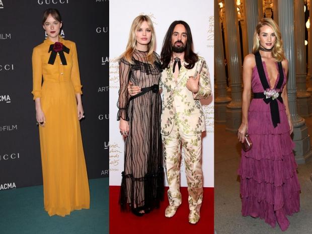 (L-R) Dakota Johnson, Georgia Jagger, Alessandro Michele and Rosie Huntington-W
