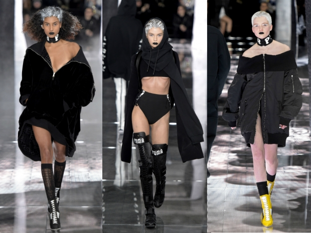 Imaan Hammam, Stella Maxwell and Ruth Bell on the catwalk