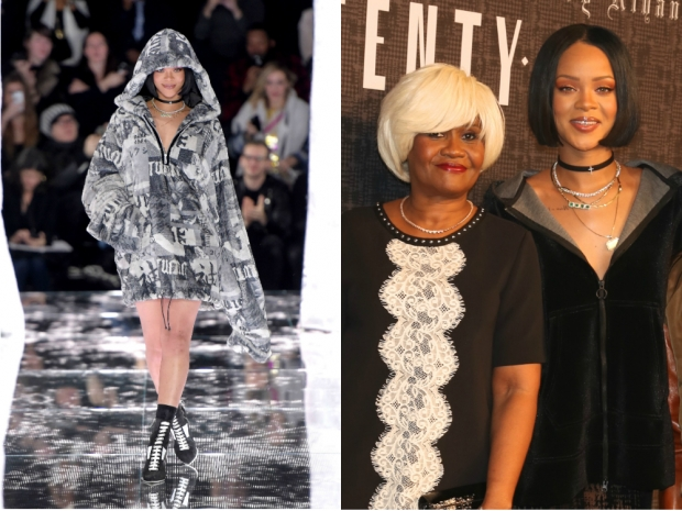 (L-R) Rihanna on the catwalk and with her mum Monica Braithwaite