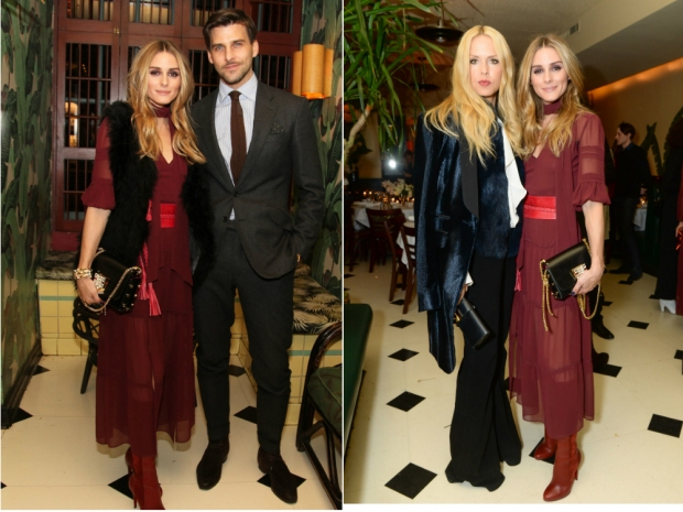 (L-R) Olivia Palermo with husband and with Rachel Zoe