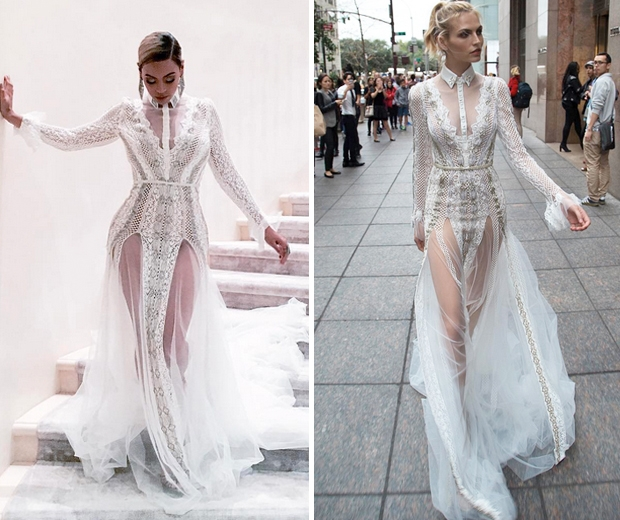 So beyonce wore a wedding dress to the grammys look for Beyonce wedding dress pictures
