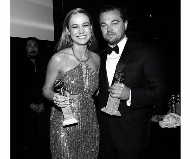 Brie Larson and Leonardo DiCaprio showing off their gongs
