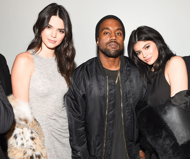 Kanye with Kylie and Kendall at their clothing launch