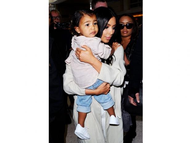 Kim and North Kardashian