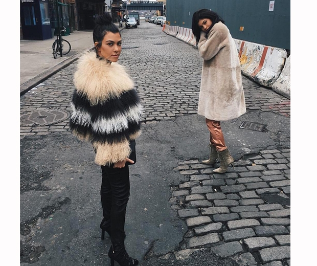 kylie jenner and kourtney kardashian fur coats