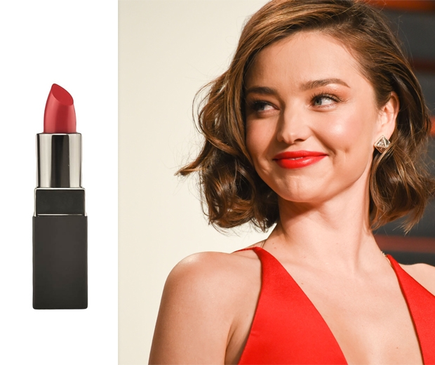 Miranda Kerr stuns in a red lip and matching dress