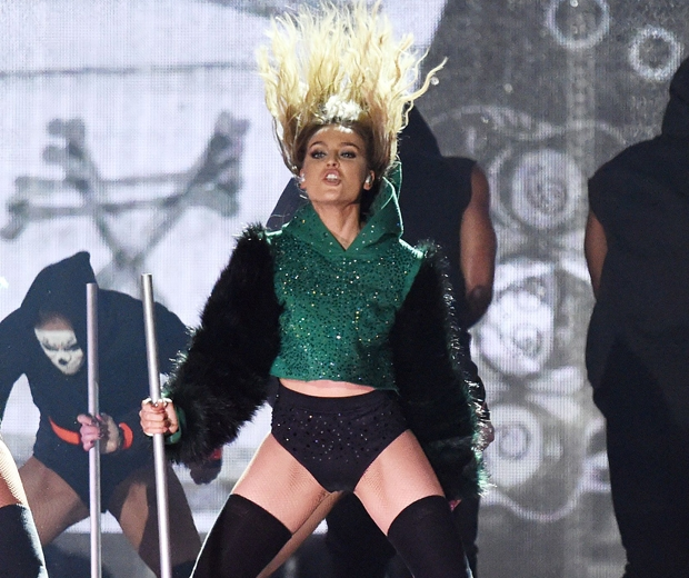 Perrie edwards performing at the BRITs 2016...