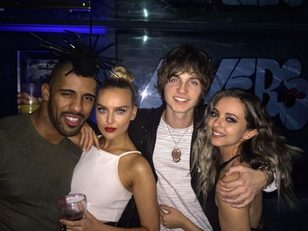 Perrie Edwards, Jed Elliott and Jade Thirlwall