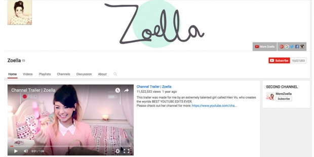 Zoella's YouTube channel