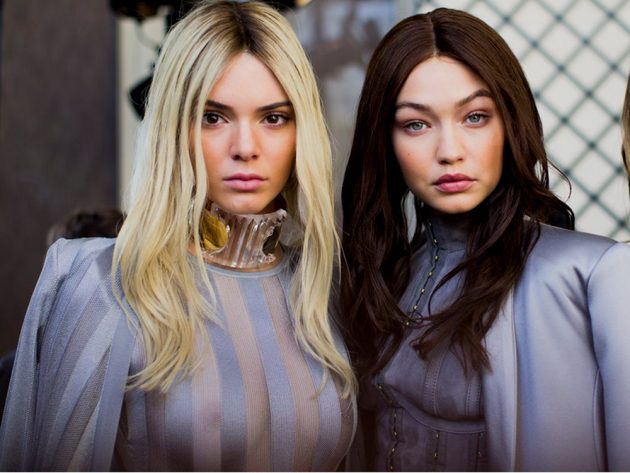 Kendall and Gigi swapped hair colours for Balmain's AW16 show