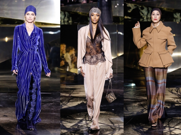 Amber Valetta, Jourdan Dunn and Pat Cleveland on the runway at H&M