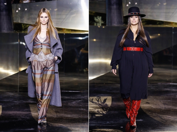 Andreja Pejic and Ashley Graham on the catwalk at H&M Studio